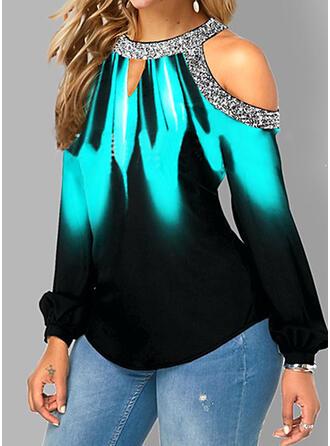 Gradient Print Cold Shoulder Long Sleeves T-shirts