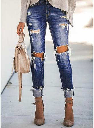 Sólido Jean Grandes Casual férias Tamanho positivo Bolso rasgado Jeans