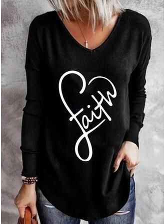Cœur Imprimé Letter Col V Manches Longues T-shirts