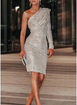 Solid Sequins Long Sleeves Bodycon Above Knee Party Dresses