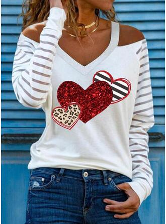Leopardo Corazón Impresión raya Top Con Hombros Manga Larga Camisetas