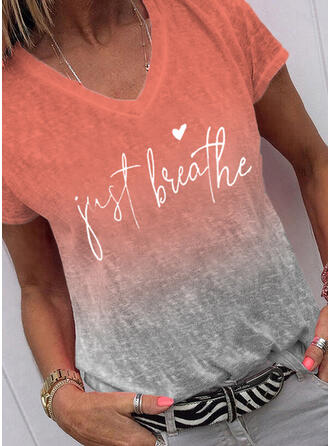 Gradient Heart Print Letter V-Neck Short Sleeves T-shirts