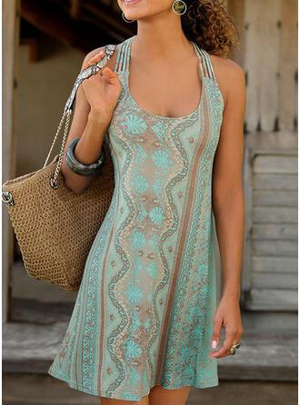 Print/Backless Sleeveless Shift Above Knee Casual/Boho/Vacation Tank Dresses