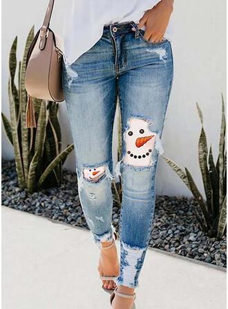 Imprimé imitation jean Longue Décontractée Vacances Grande taille Poche déchiré Pantalon Jeans