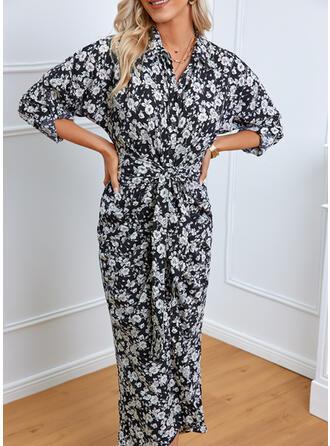 Print/Floral 3/4 Sleeves Sheath Shirt Elegant Midi Dresses