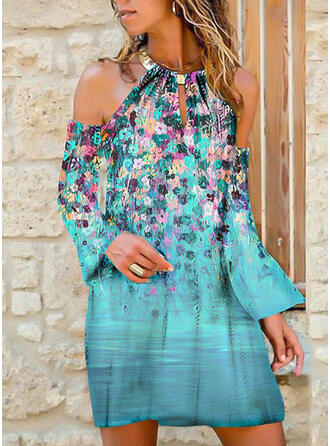 Print/Floral Long Sleeves/Flare Sleeves Shift Above Knee Casual Tunic Dresses