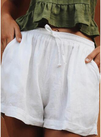 Solid Linen Above Knee Casual Pocket Drawstring Pants Shorts