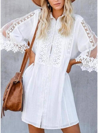 Lace/Solid 3/4 Sleeves Shift Above Knee Elegant Dresses
