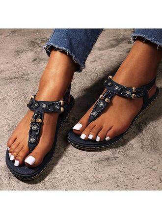 Femmes Similicuir Talon plat Sandales Tongs avec Strass Élastique chaussures