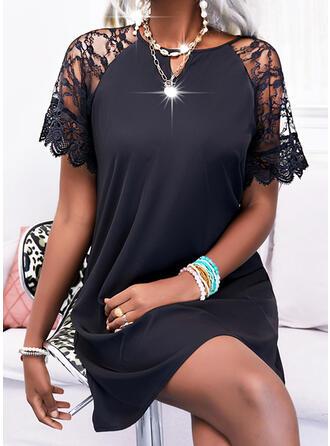 Solid Short Sleeves Shift Above Knee Little Black/Elegant Tunic Dresses