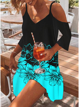 Print/Floral/Color Block 3/4 Sleeves Cold Shoulder Sleeve Shift Above Knee Casual/Vacation Tunic Dresses