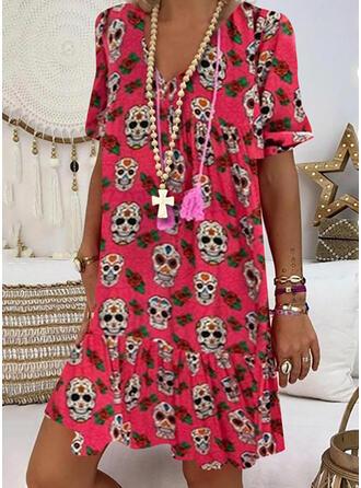 Print Short Sleeves Shift Knee Length Casual/Vacation T-shirt Dresses