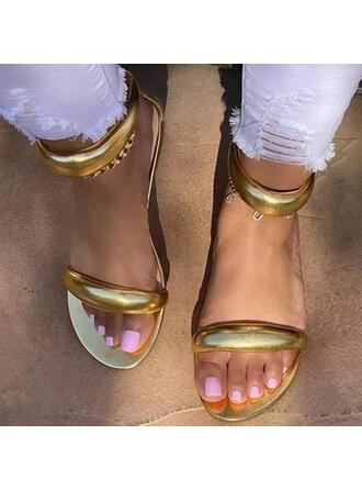 Femmes PU Talon plat Sandales À bout ouvert avec Zip Couleur unie chaussures