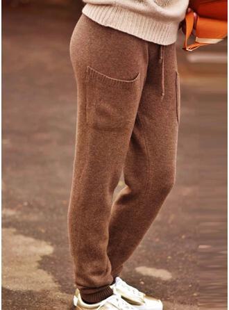 Couleur Unie Tricot Longue Ancien Grande taille Poche Cordon Pantalons de détente
