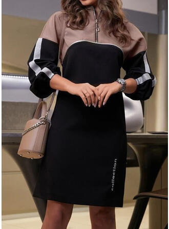 Color Block Long Sleeves Shift Mini Casual Dresses