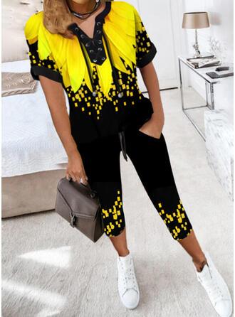 Print Color Block Casual Plus Size Blouse & Two-Piece Outfits Set