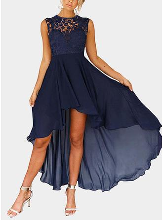 Lace Sleeveless A-line Asymmetrical Sexy/Casual/Elegant Dresses