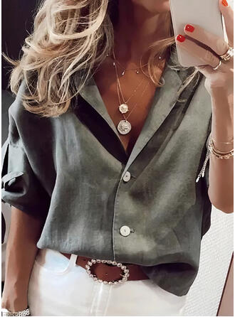 Solid Lapel 1/2 Sleeves Button Up Casual Shirt Blouses