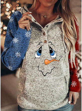Print Color Block Long Sleeves Christmas Sweatshirt