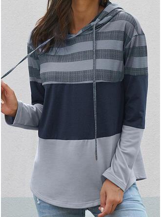 Color Block Striped Hooded Long Sleeves Hoodie