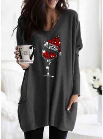 Sequins Pockets Round Neck Long Sleeves Christmas Sweatshirt