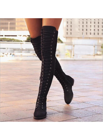 Mulheres PU Sem salto Sem salto Fechados Botas Bota em cima do joelho com Aplicação de renda sapatos