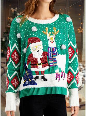 Mulheres Estampado Papai Noel Rena Camisola de Natal Feio