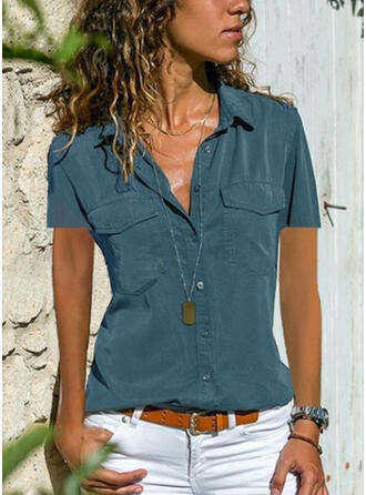 Solid Lapel Short Sleeves Casual Blouses (1003262217)