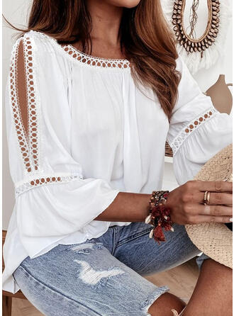 Memorial Day Solid Lace Cold Shoulder 3/4 Sleeves Cold Shoulder Sleeve Casual Blouses