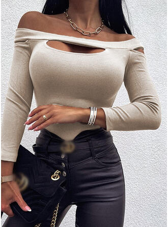Solid Off the Shoulder Long Sleeves T-shirts