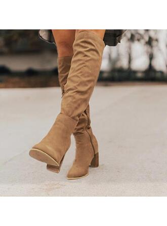 Mulheres Camurça Salto agulha Bota no joelho Dedo pontudo com Cor sólida sapatos