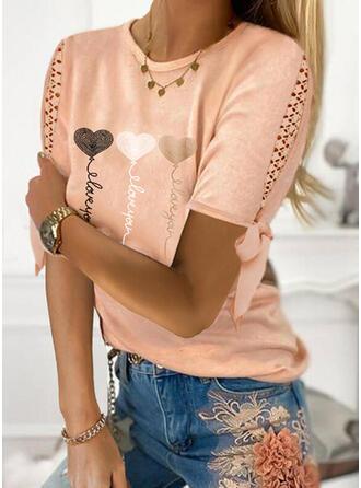 Impresión Corazón Carta Encaje Cuello Redondo Manga Corta Casual Blusas