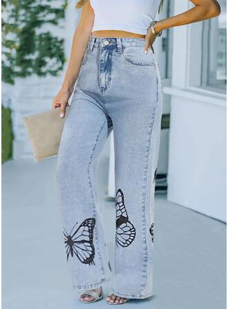 Imprimé papillon Longue Décontractée Pantalon