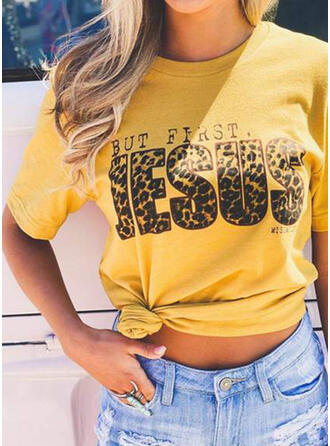 Leopard Print Letter Round Neck Short Sleeves T-shirts