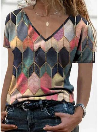 Geométrico Decote em V Manga Curta Camisetas