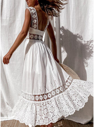 Lace/Solid Sleeveless A-line Skater Vacation Maxi Dresses
