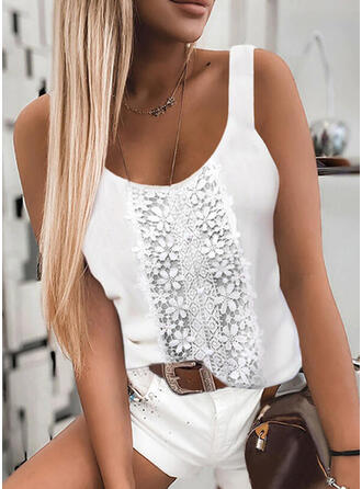 Floral Lace Solid Strap Sleeveless Tank Tops