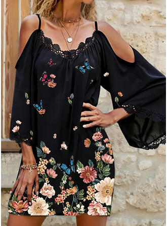 Lace/Floral/Animal Print 3/4 Sleeves Shift Above Knee Casual/Vacation Tunic Dresses
