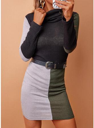 Print/Color Block Long Sleeves Sheath Above Knee Casual Dresses