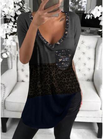 Color Block Leopard Sequins V-Neck Short Sleeves T-shirts