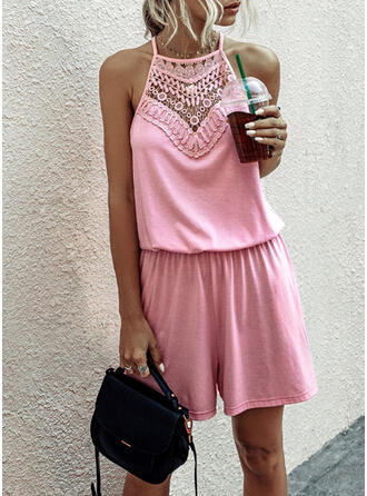 Lace Solid Strap Sleeveless Casual Jumpsuit