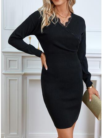 Sólido Encaje Cuello en V Casual Vestido de Suéter