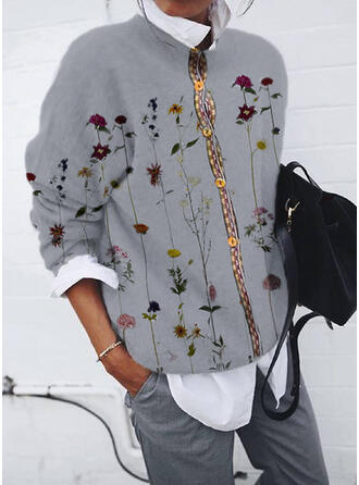 Print Floral Lapel Long Sleeves