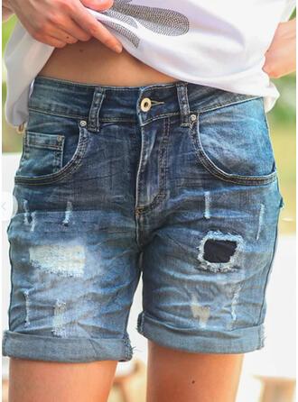 Acima do joelho Casual Vintage Tamanho positivo Bolso shirred rasgado Button Calças Jeans