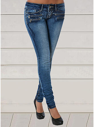 Solid Denim Long Sexy Plus Size Pocket Denim & Jeans