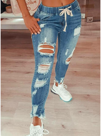 Plus Size Ripped Drawstring Sexy Vintage Denim & Jeans