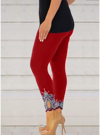 Print Cropped Casual Sexy Plus Size Hollow Out Pants Leggings
