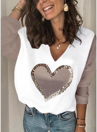 Trozos de color Corazón Cuello en V Manga Larga Camisetas
