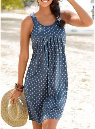 Print Sleeveless Shift Knee Length Casual Tank Dresses