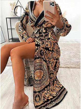 Print Long Sleeves A-line Wrap/Skater Vintage/Casual Maxi Dresses